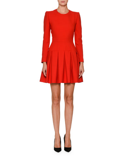 Pleated Long-Sleeve Dress