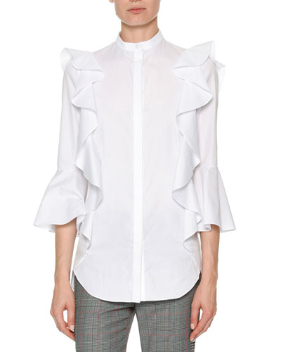 Poplin 3/4-Sleeve Ruffle Button-Down Blouse
