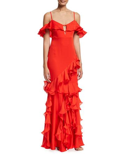 Ana de Asturias Ruffled Cold-Shoulder Gown