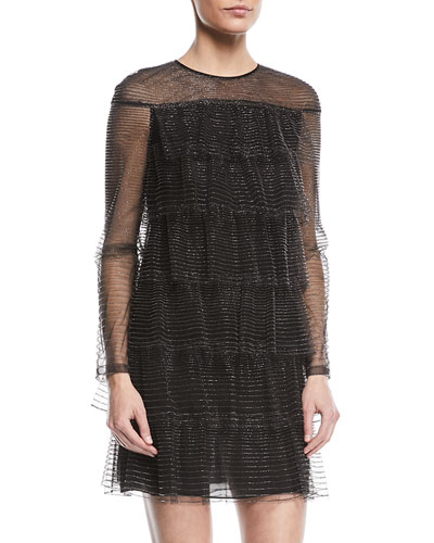 Long-Sleeve Tulle Illusion Multitiered Dress