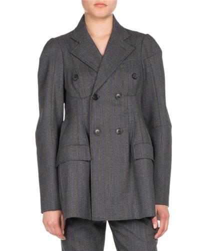 Darted Plaid Wool Blazer