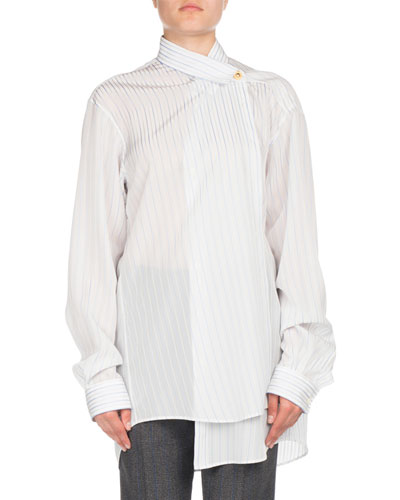 Striped One-Button Blouse