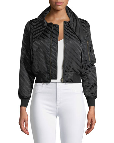 Zip-Front Tonal Logo Striped Jacquard Bomber Jacket