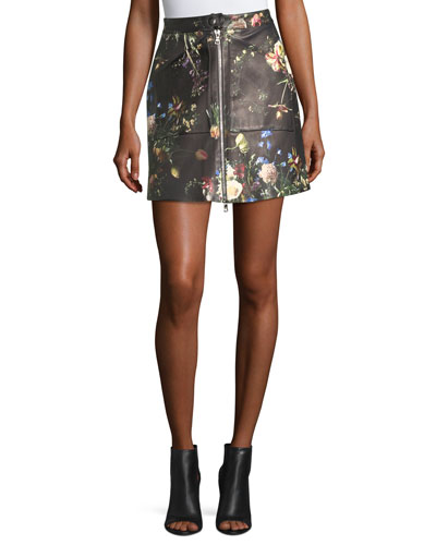 Floral-Print Leather Zip-Front Skirt