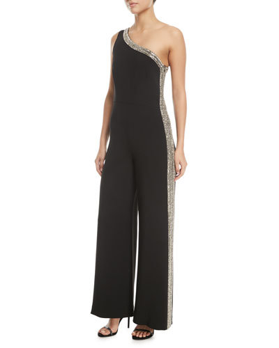 One-Shoulder Stretch-Cady Wide-Leg Jumpsuit with Embellishments
