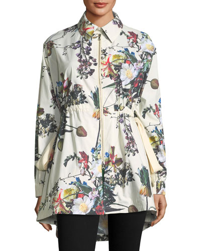Printed Poplin High-Low Anorak Jacket