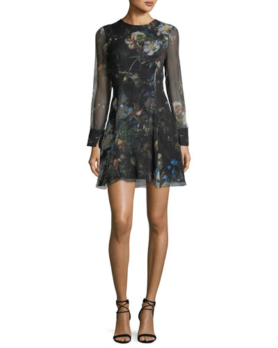Long-Sleeve Floral Chiffon Mini Dress
