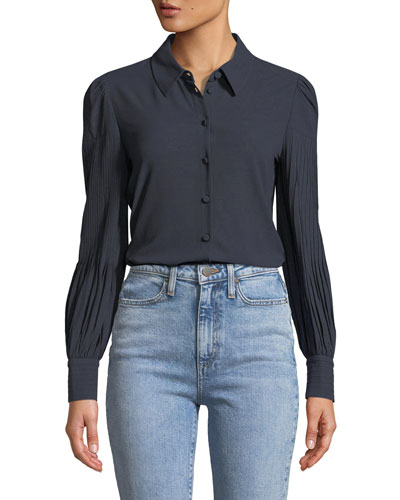Stretch-Knit Blouse w/Pintucked Sleeves