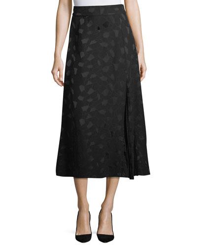 Pleated A-Line Midi Skirt