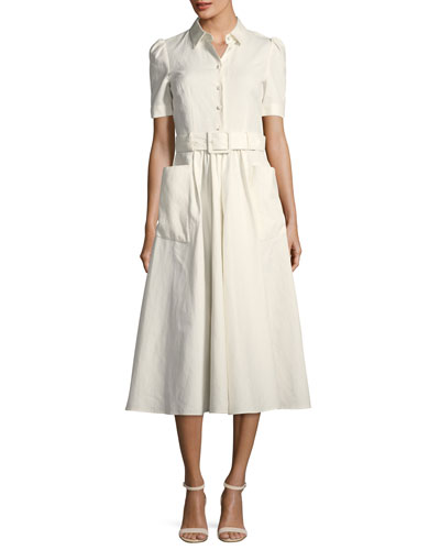 Short-Sleeve Woven Shirtdress