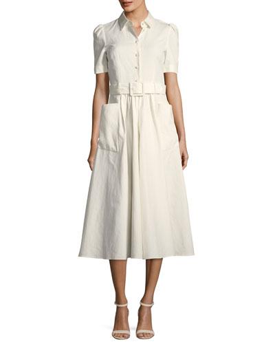 Short-Sleeve Woven Shirtdress