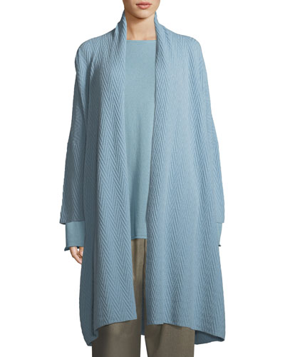 Long Cashmere Scrunch-Collar Cardigan