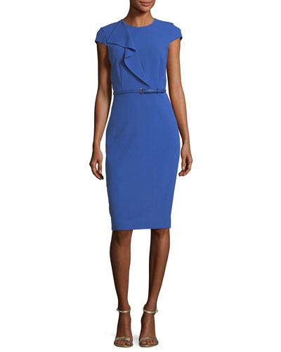Ruffled Cap-Sleeve Pencil Dress