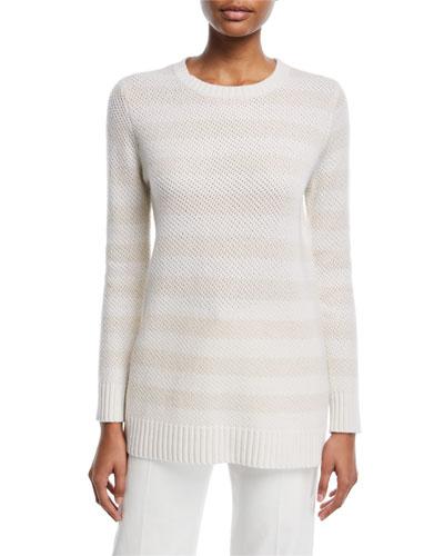 Striped Crewneck Cashmere Sweater in White
