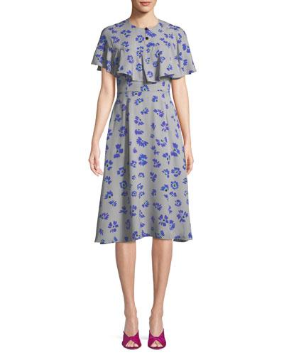 Floral-Print Capelet Silk Dress