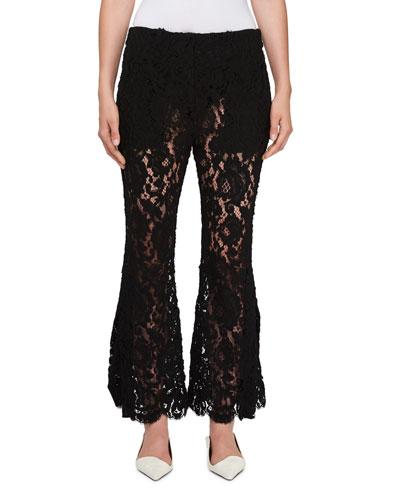 Flared-Leg Sheer Lace Pants