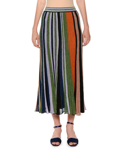 Lamé Striped Pleated Pull-On Long Skirt