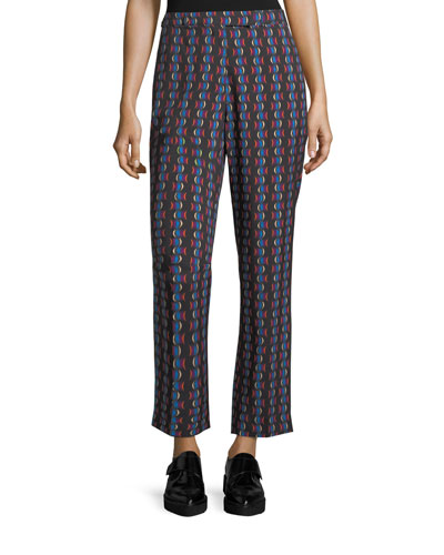 Printed Straight-Leg Pants