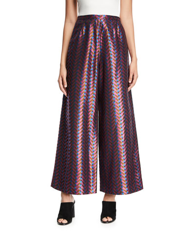 Geometric-Print Wide-Leg Pants