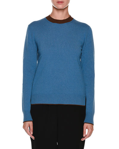 Contrast Crewneck Long-Sleeve Cashmere Sweater