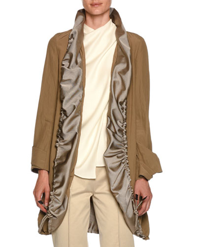 Easy Belted Topper Jacket w/ Ruched Contrast Satin Collar