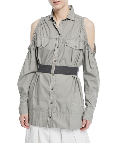 Cold-Shoulder Snap-Front Cotton Western Shirt with Belt