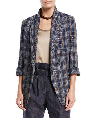 Prince of Wales Check Double-Breasted Linen Jacket with Paillettes