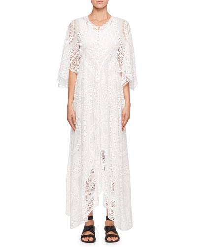Tablecloth Lace Flutter-Sleeve Dress