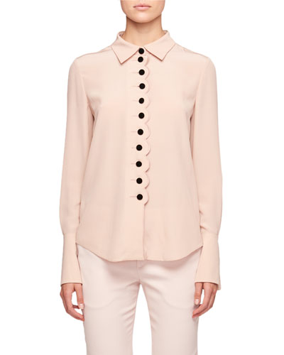 Blouse with Velvet Buttons