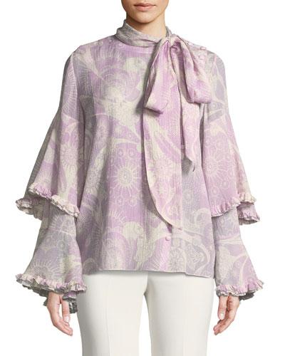 Dotty Flowers-Print Necktie Ruffle-Sleeve Blouse