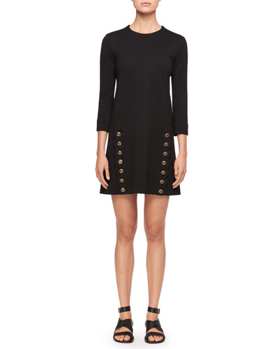 Crewneck 3/4-Sleeves Straight Wool Dress with Button-Detail