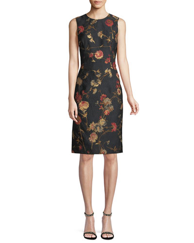 Sleeveless Floral Jacquard Sheath Dress