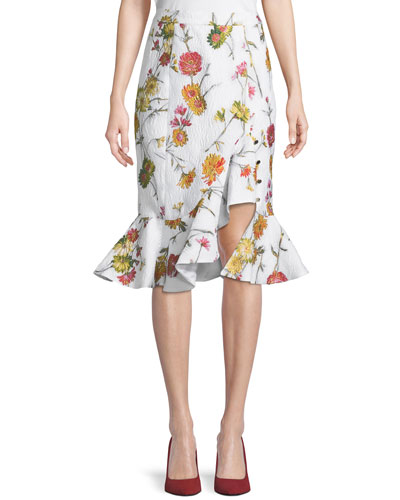 Floral Jacquard Ruffle Skirt