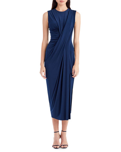 Sleeveless Pleat-Front Midi Dress