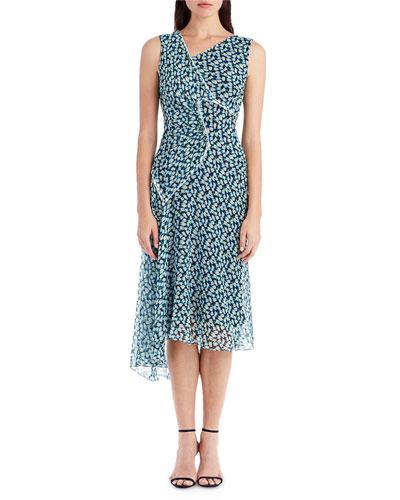 Sleeveless Printed Chiffon Dress