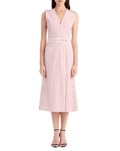 Striped V-Neck Shirting Dress