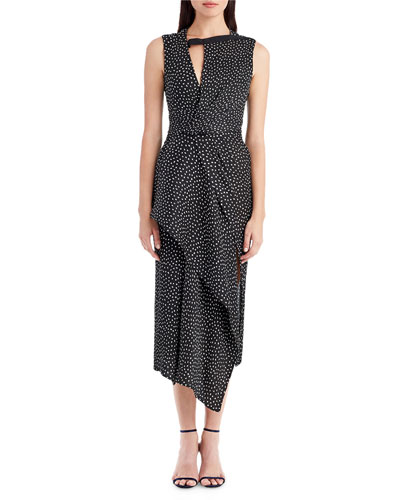 Sleeveless Asymmetric Silk Dress