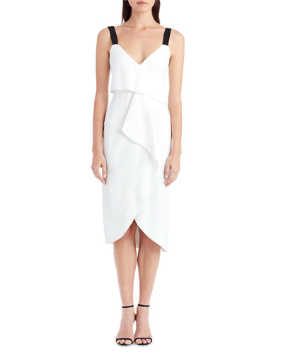 Sleeveless V-Neck Popover Cocktail Dress