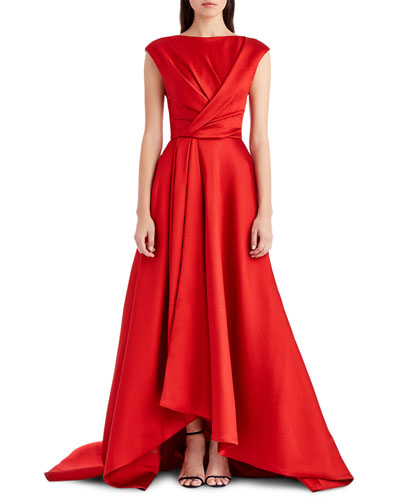 Cap-Sleeve Taffeta High-Low Gown