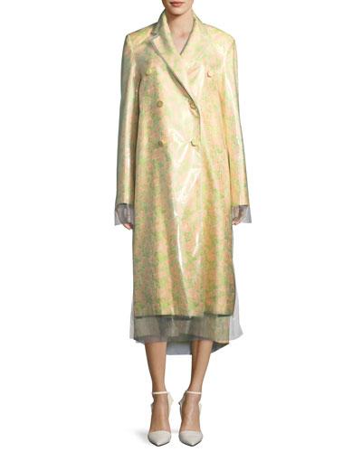 Floral Jacquard Double-Layer Coat