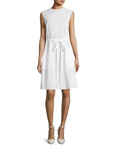 Crewneck Sleeveless Embroidered Cotton Dress