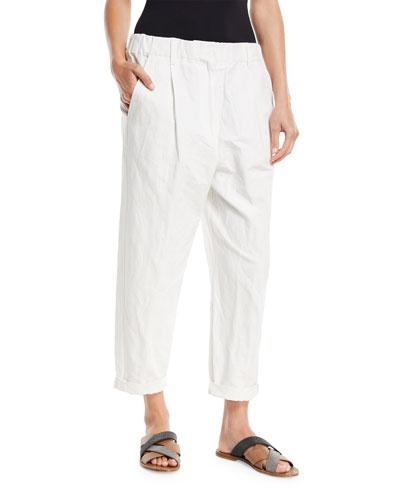Cotton Straight-Leg Pull-On Utility Pants