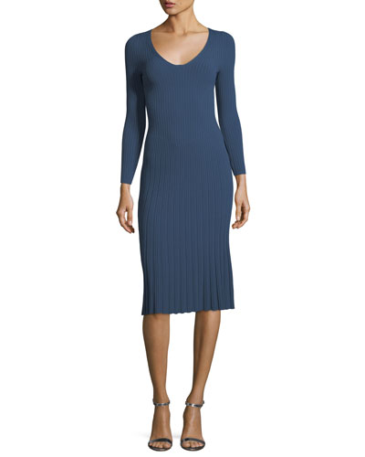 V-Neck 3/4-Sleeve Rib Knit Dress