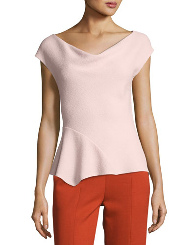Crepe Cowl-Neck Asymmetric Top