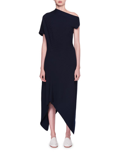 Jiana Asymmetric Rib-Knit Wool-Blend Midi Dress