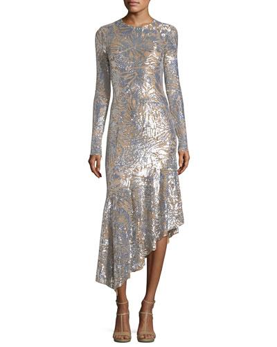 Metallic Leaf-Embellished Midi Dress
