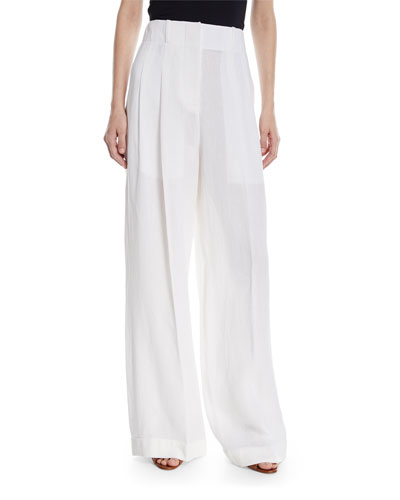 Cropped Wide-Leg Linen Pants