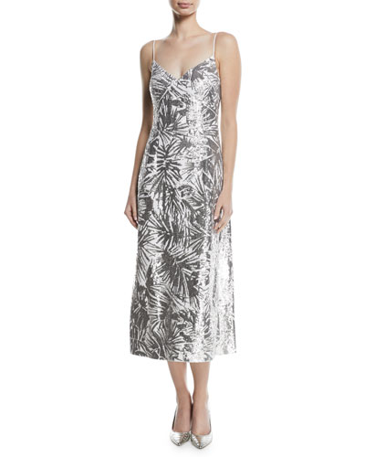 Metallic Leaf-Embroidered Cami Dress