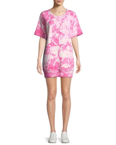 Short-Sleeve Tie-Dye Cashmere Sweatshirt Dress