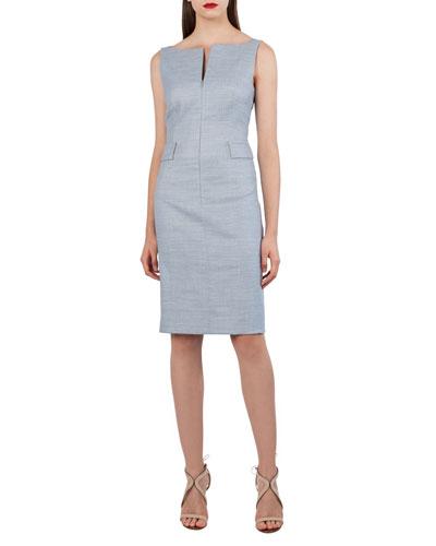 Split-Neck Sleeveless Sheath Dress